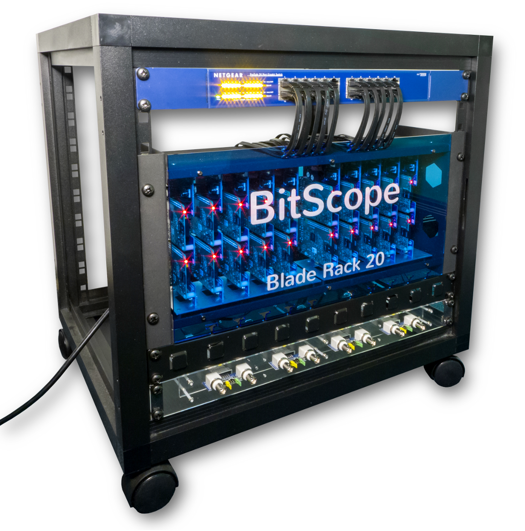 BitScope Blade Rack 20, a Duo Pi based Cluster Computer with Power & Mounting for Raspberry Pi.