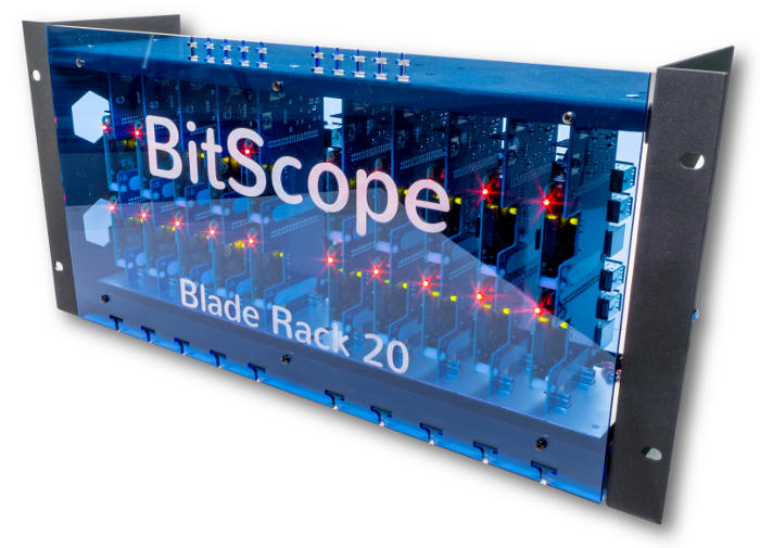 BitScope Blade Rack 20, Power & Mounting for 20 Raspberry Pi (Raspberry Pi not included).